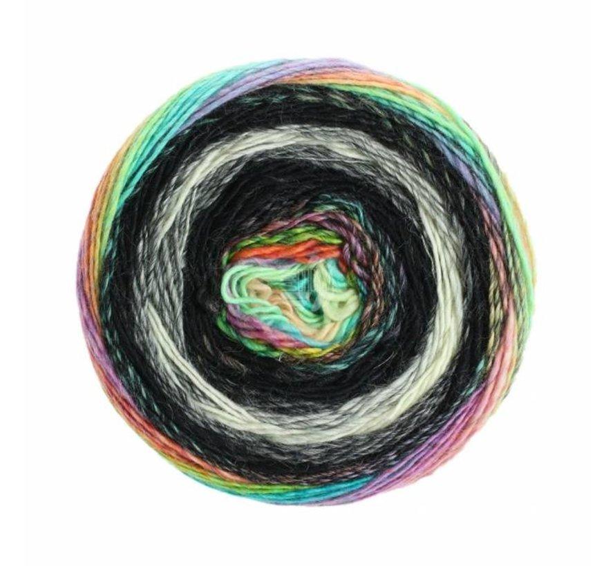 Gomitolo Finito 555 Kleur: Zwart-Antraciet-Naturel-Blauw-Groen-Geel-Rood