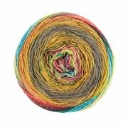 Lana Grossa Gomitolo Finito 558 Kleur: Oker-Grijspaars-Petrol-Turquoise-Roze-Lila