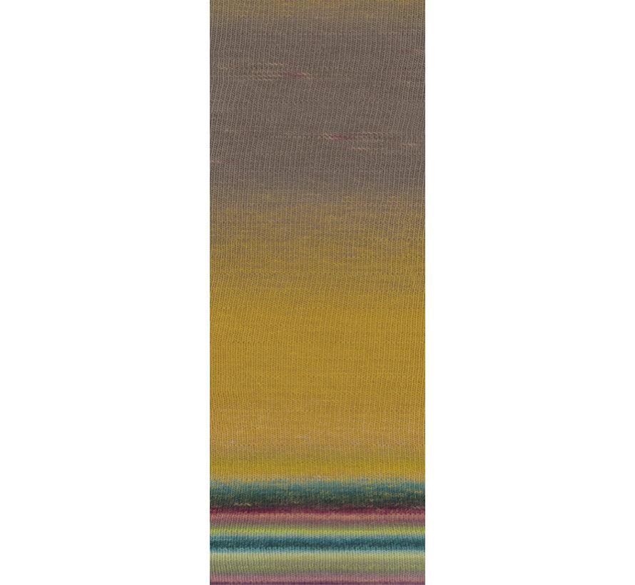 Gomitolo Finito 558 Kleur: Oker-Grijspaars-Petrol-Turquoise-Roze-Lila