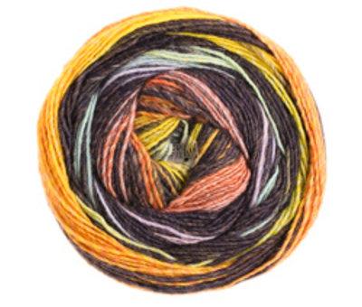 Lana Grossa Gomitolo Bene 751 Kleur: Zalm-Zwartbruin-Geel-Kaki-Grijsblauw