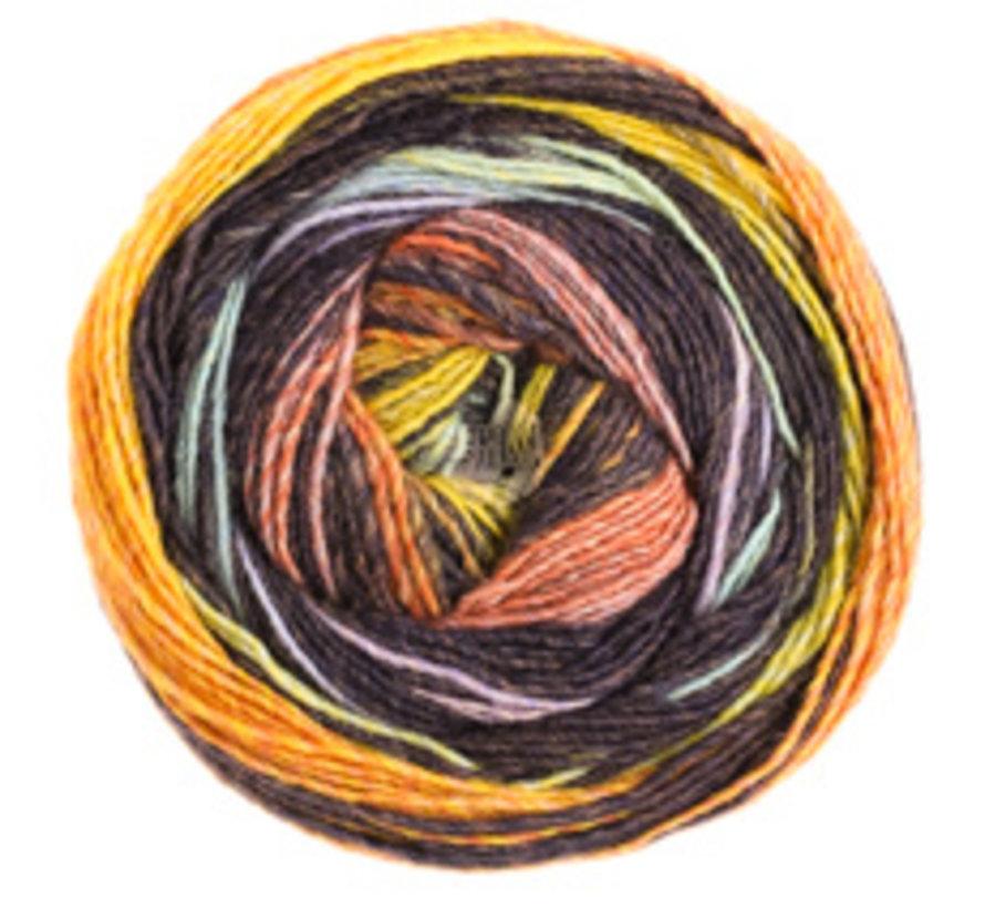 Gomitolo Bene 751 Kleur: Zalm-Zwartbruin-Geel-Kaki-Grijsblauw