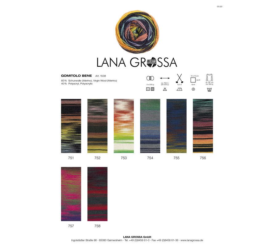 Gomitolo Bene 752 Kleur: Grijsbruin-Lila-Bordeaux-Oker-Geel