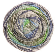 Lana Grossa Gomitolo Bene 754 Kleur: Groen-Grijs-Middenblauw-Jeans-Donkerblauw