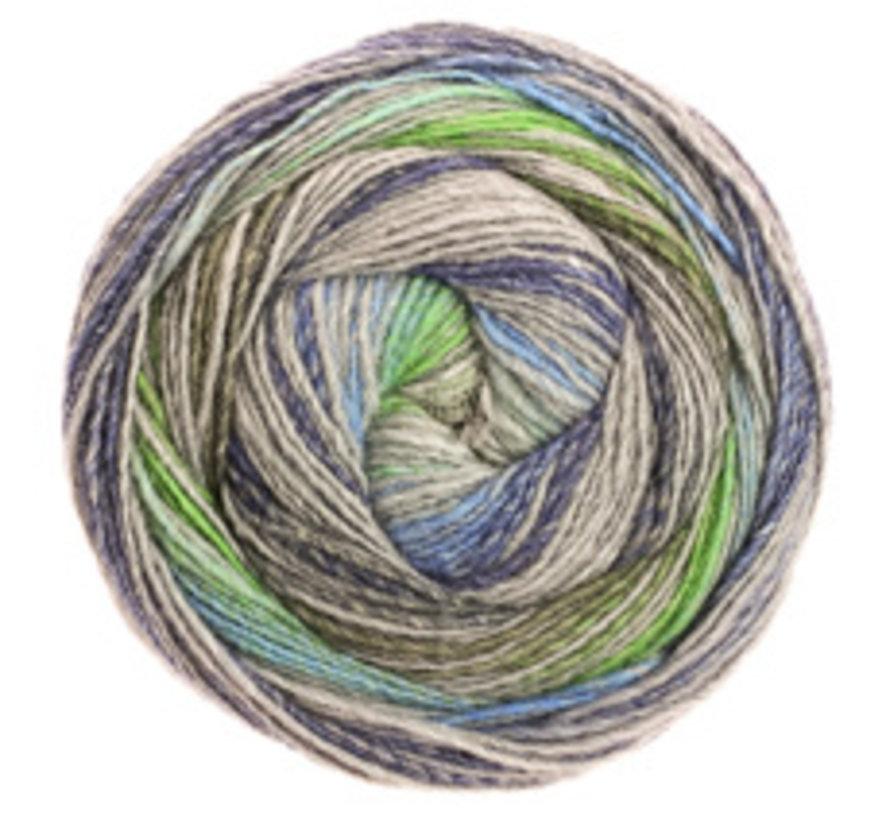 Gomitolo Bene 754 Kleur: Groen-Grijs-Middenblauw-Jeans-Donkerblauw