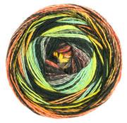 Lana Grossa Gomitolo Bene 756 Kleur: Turquoise-Zwart-Grijs-Blauwebes-Oranje-Honinggeel