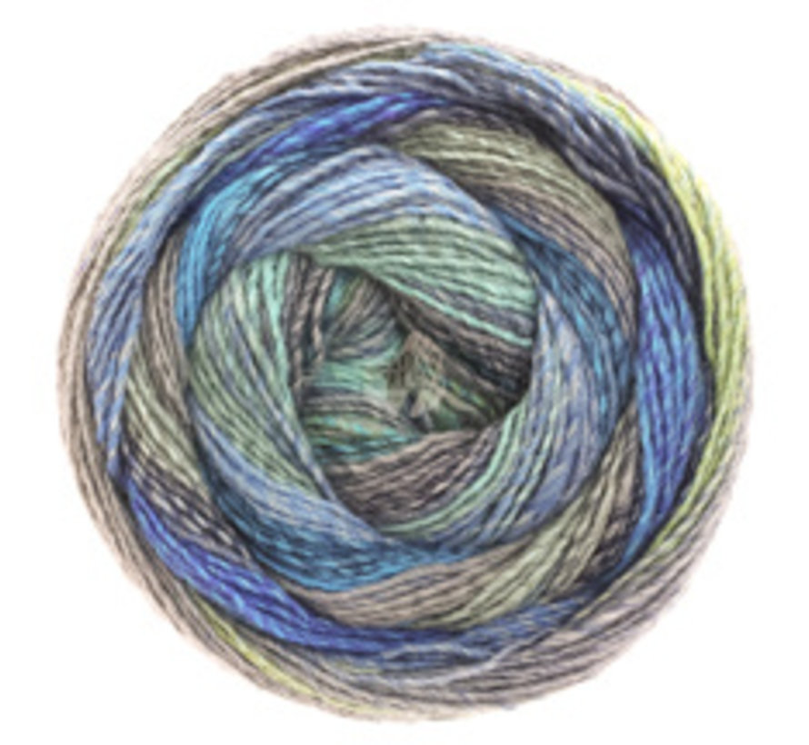Gomitolo Molto 604  Kleur: Blauw-Groen-Grijs-Turquoise