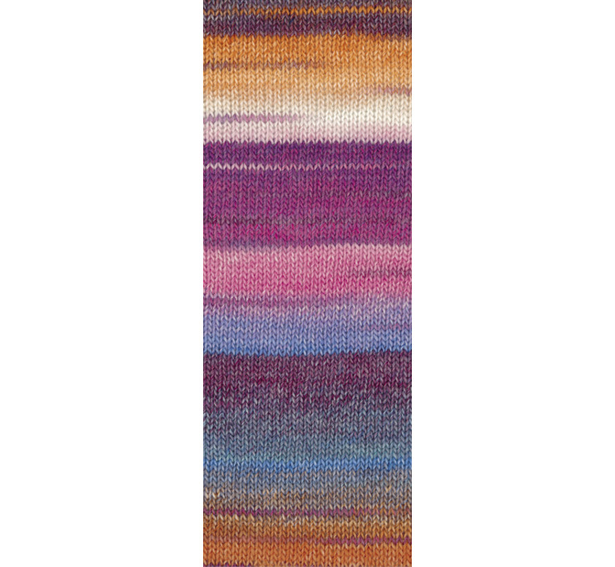 Gomitolo Molto 612  Kleur: Donkerblauw-Hemelsblauw-Aubergine-kameel-Ecru-Roodviolet-Anjer