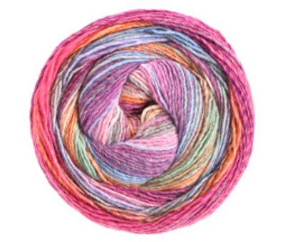 Lana Grossa Gomitolo Molto 612  Kleur: Donkerblauw-Hemelsblauw-Aubergine-kameel-Ecru-Roodviolet-Anjer