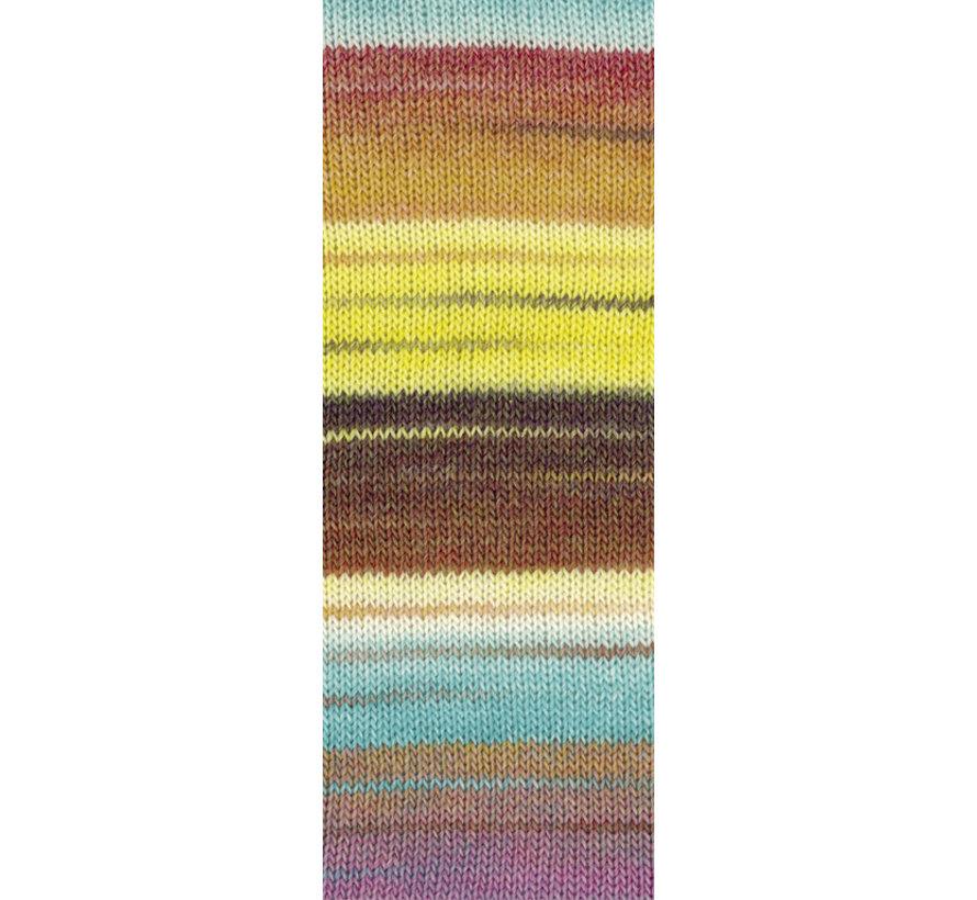 Gomitolo Molto 613  Kleur: Mint-Witgroen-Oker-Vanille-Zwartbruin-Hazelnoot