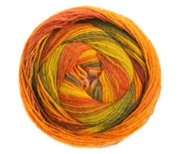 Lana Grossa Gomitolo Molto 616  Kleur: Limoen-Lichtgroen-Donkergroen-Roodbruin-Bruinoranje