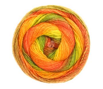 Lana Grossa Gomitolo Versione 411  Kleur: Olijf-Rood-Oranje-Geel-Geelgroen-Groen