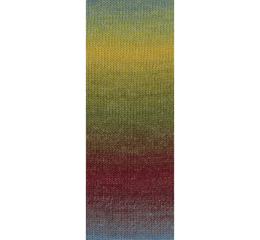 Gomitolo Versione 419  Kleur: Petrol-Olijf-Mosterd-Aubergine-Braam-Grijsblauw