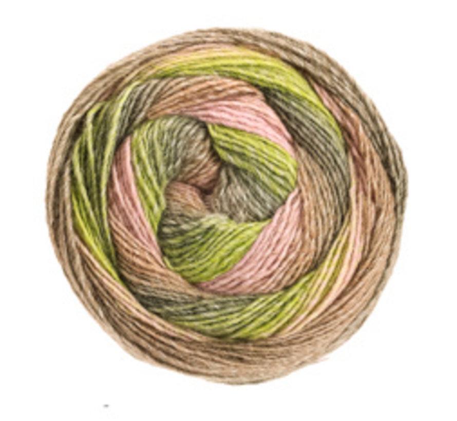 Gomitolo Versione 421  Kleur: Kaki-Lichtgroen-Donkergroen-Zwartgroen-Beige