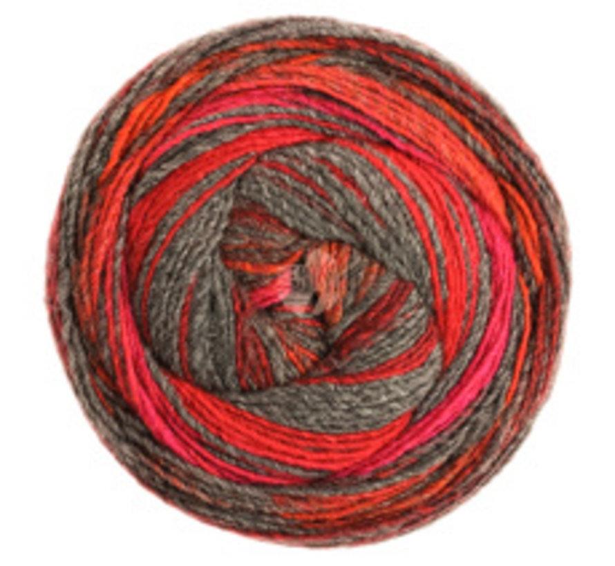 Gomitolo Bene 758 Kleur: Donkergrijs-Bordeaux-Rood-Cyclaam