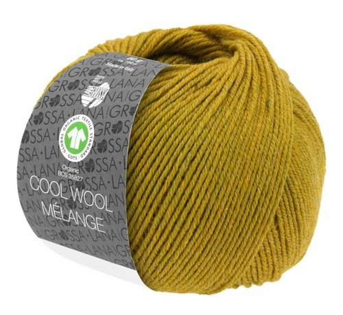 Lana Grossa Cool Wool Melange GOTS 0108 Kleur: Olijfgeel gevlekt