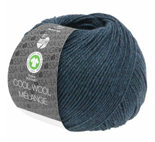 Lana Grossa Cool Wool Melange GOTS 0111 Kleur: Zwart blauw gevlekt