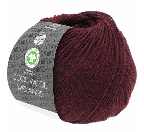 Lana Grossa Cool Wool Melange GOTS 0119 Kleur: Donker rood gevlekt