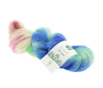 Lana Grossa Silkhair Hand-Dyed nr.602 Kleur: Taj Blauw-Munt-Roze-Grijs