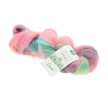 Lana Grossa Silkhair Hand-Dyed nr.604 Kleur: Diwali Roze-Lichtgroen-Grijsbruin-Turquoise