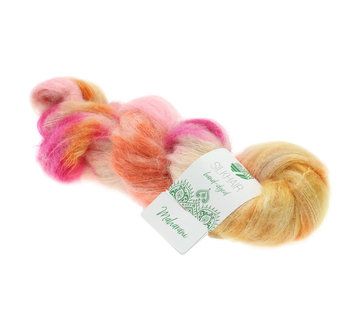 Lana Grossa Silkhair Hand-Dyed nr.605 Kleur: Maharani Oranje-Ecru-Roze-Fuchsia