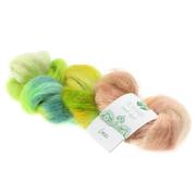 Lana Grossa Silkhair Hand-Dyed nr.606 Kleur: Lassi Limoen-Geel-Petrol-Beige
