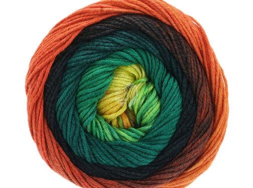 Lana Grossa Gomitolo Aloha 311 Kleur: Oranje-Rood-Zwart-Petrol-Donkergroen-Geel