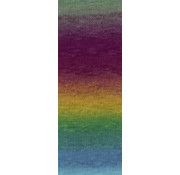 Lana Grossa Gomitolo Aloha 310 Kleur: Grijsgroen-Roodviolet-Oudroze-Roest-Geel-Jade-Petrol-Turquoise