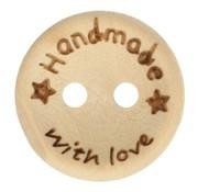 Huismerk Knoop Handmade with love met sterretjes