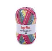 Katia Katia Memfis Color 108 Koraal-Bleekrood-Licht geel-Blauw