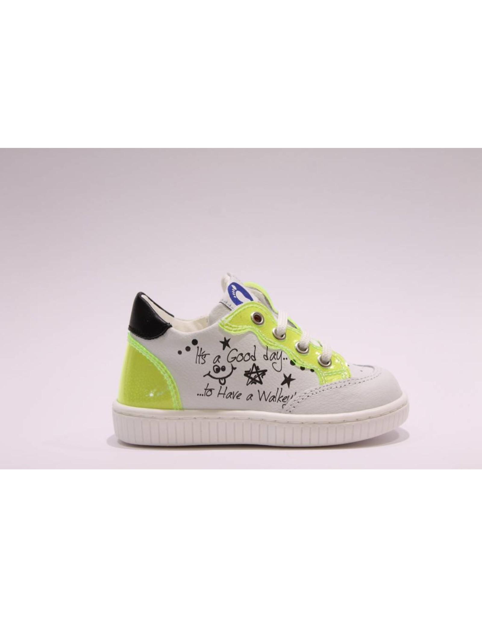 Walkey sneaker wit/fluo geel