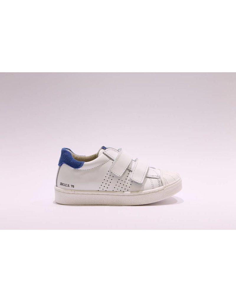 sho.e.b. sneaker laag 76 wit/blauw velcro