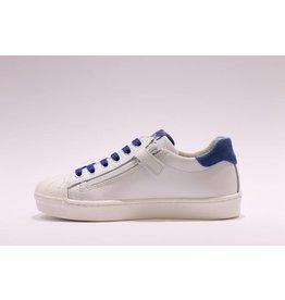 sho.e.b. sneaker laag 76 wit/blauw veter