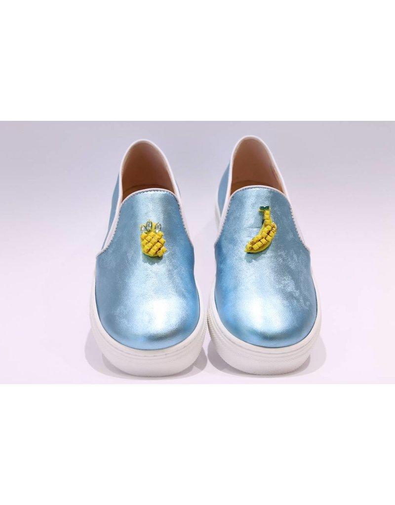 Clarys loafer blauw ananas/banaan