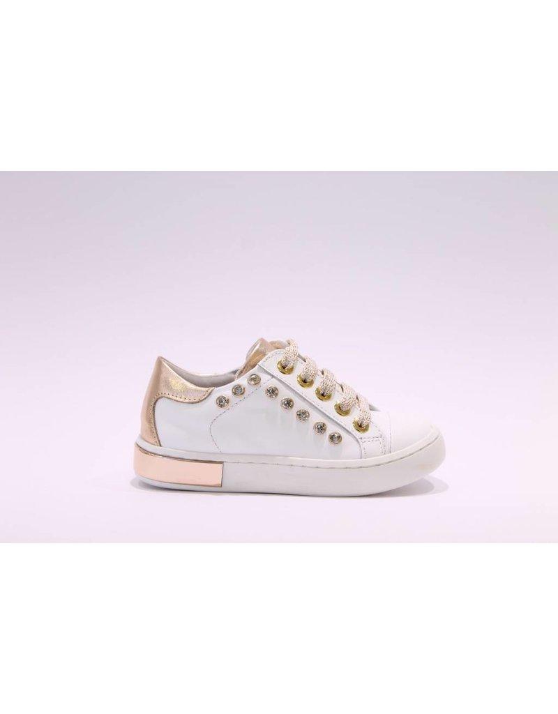 Chérie Sneaker wit/rosé stenen