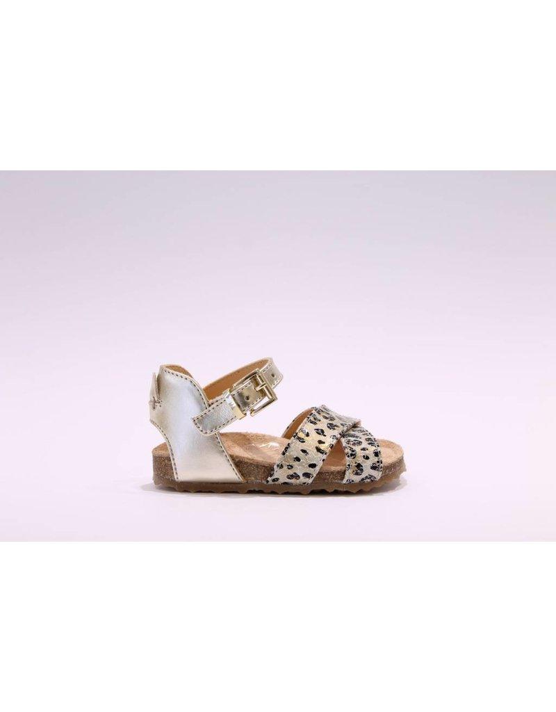 Ocra Sandaal leopard kruis/goud