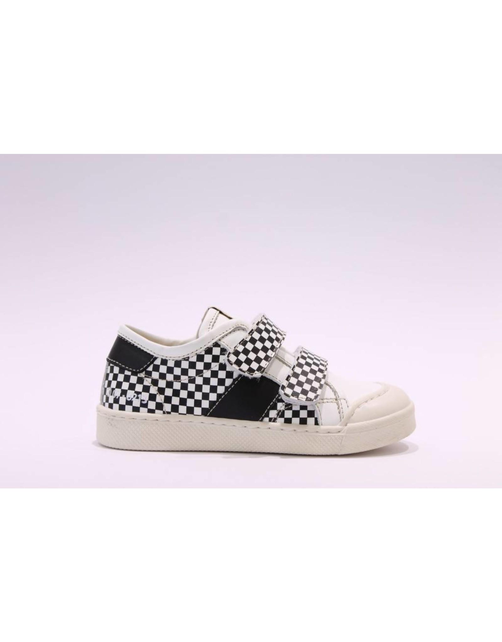 Ocra sneaker velcro zwart/wit blokjes
