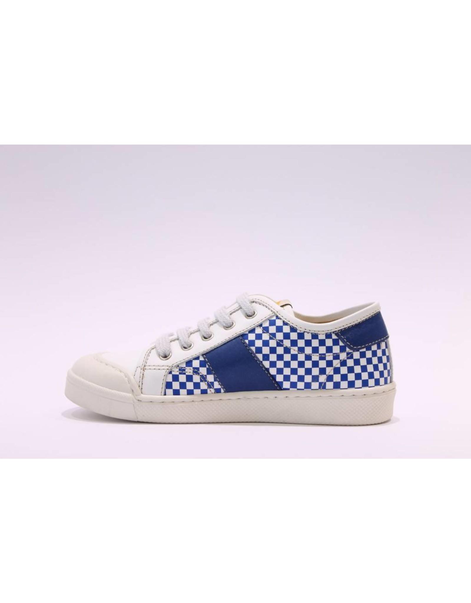 Ocra sneaker blauw/wit blokjes