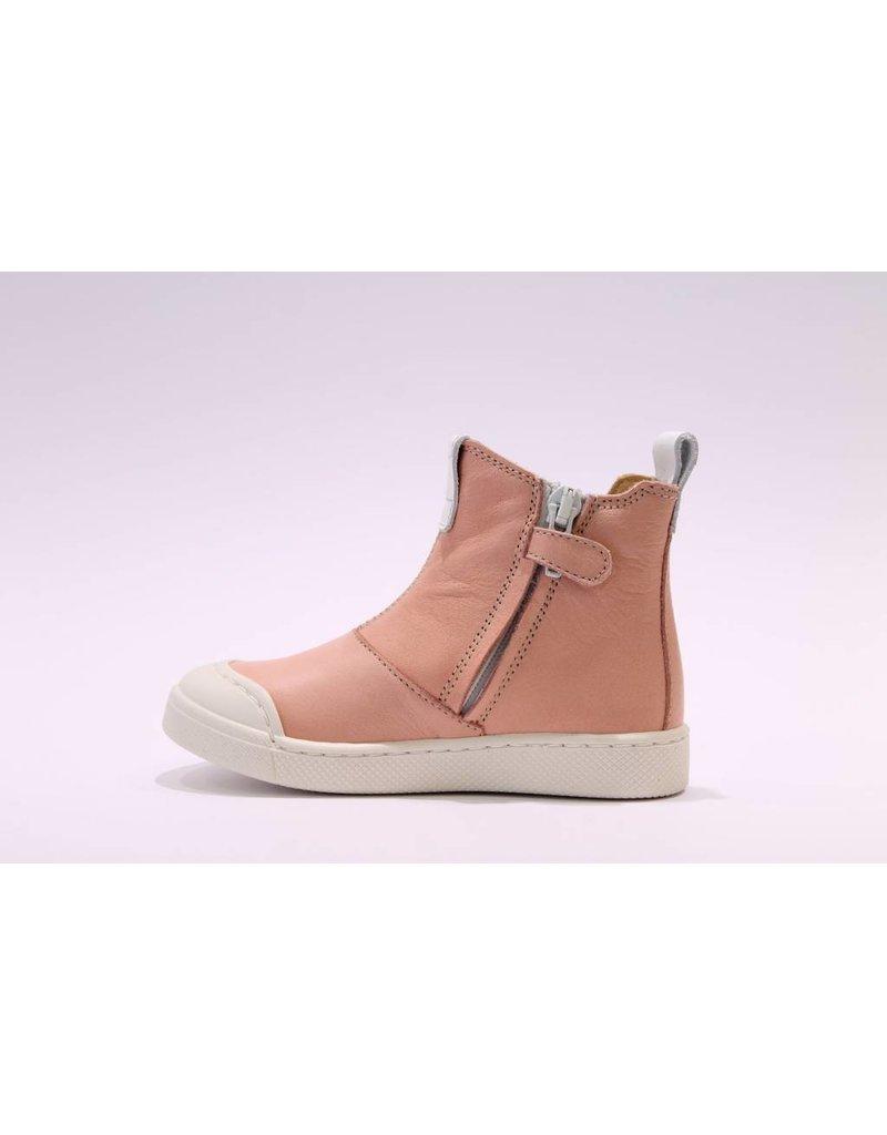 Ocra sneakerbotje roze/goud elastiek
