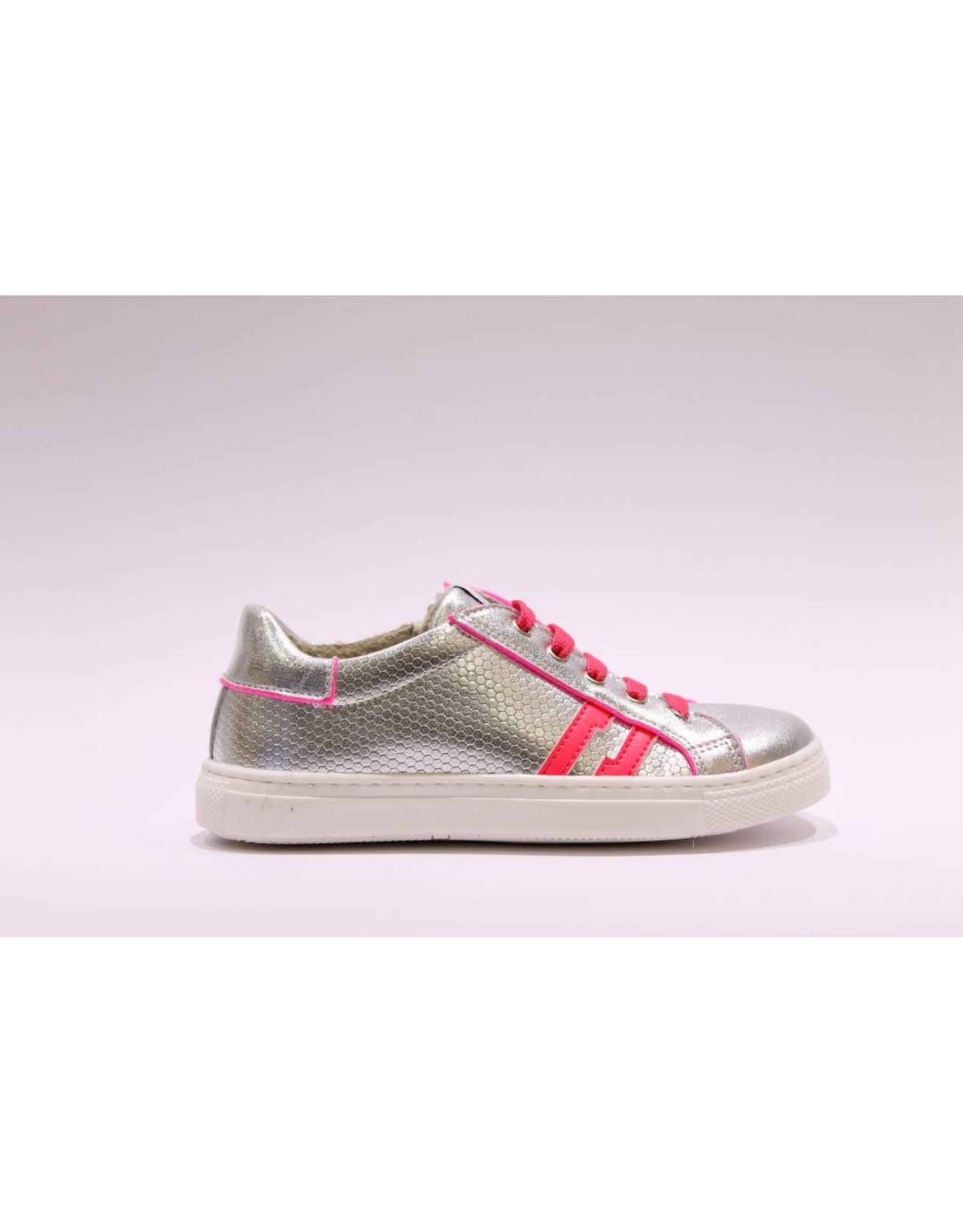 sho.e.b. Sneaker silver/fuchsia veter