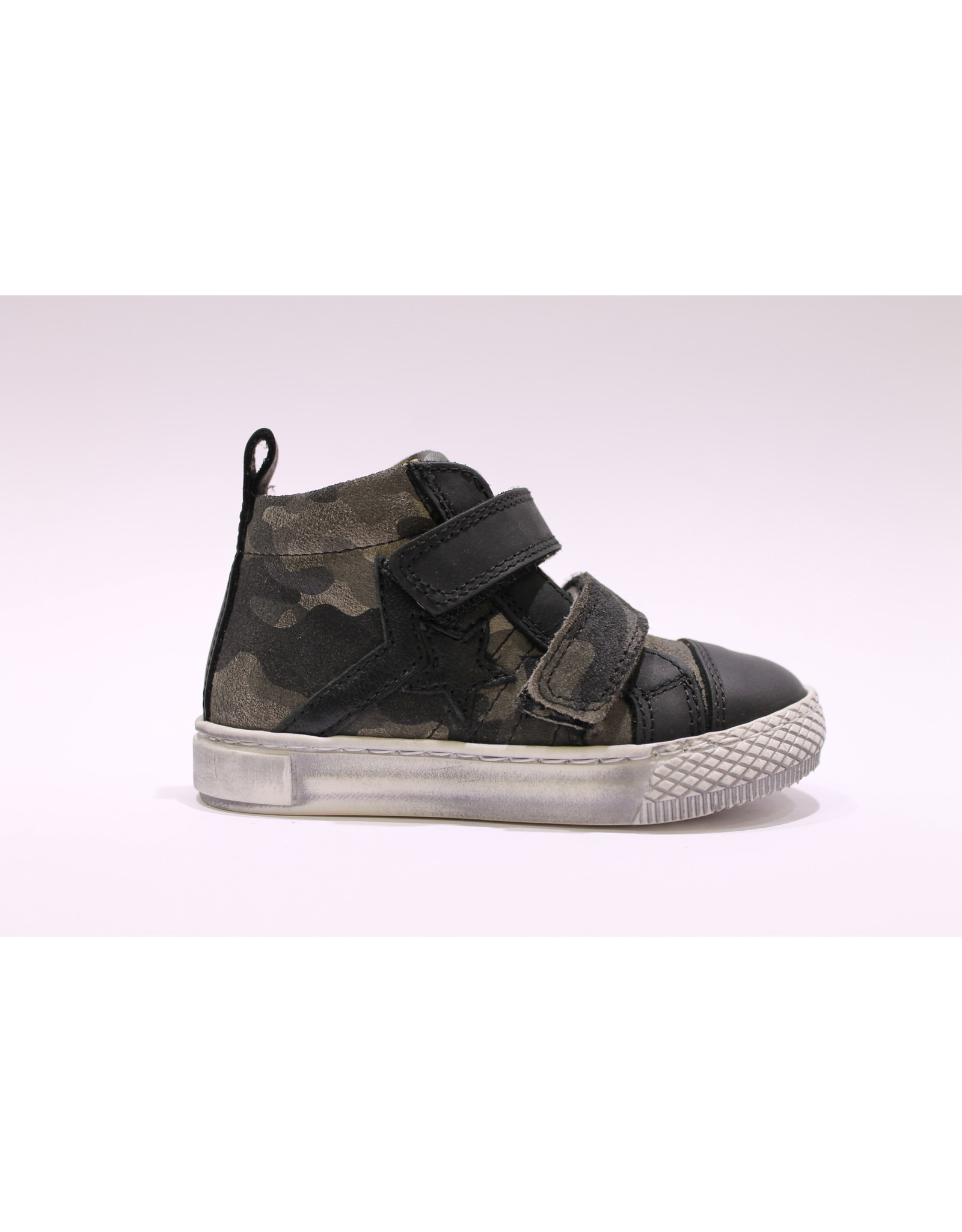 Lunella sneaker velcro zwart leger