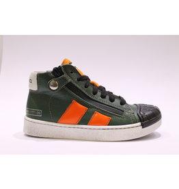Momino sneaker veter groen/oranje