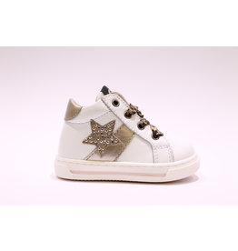 Walkey sneaker wit, goud, luipaard