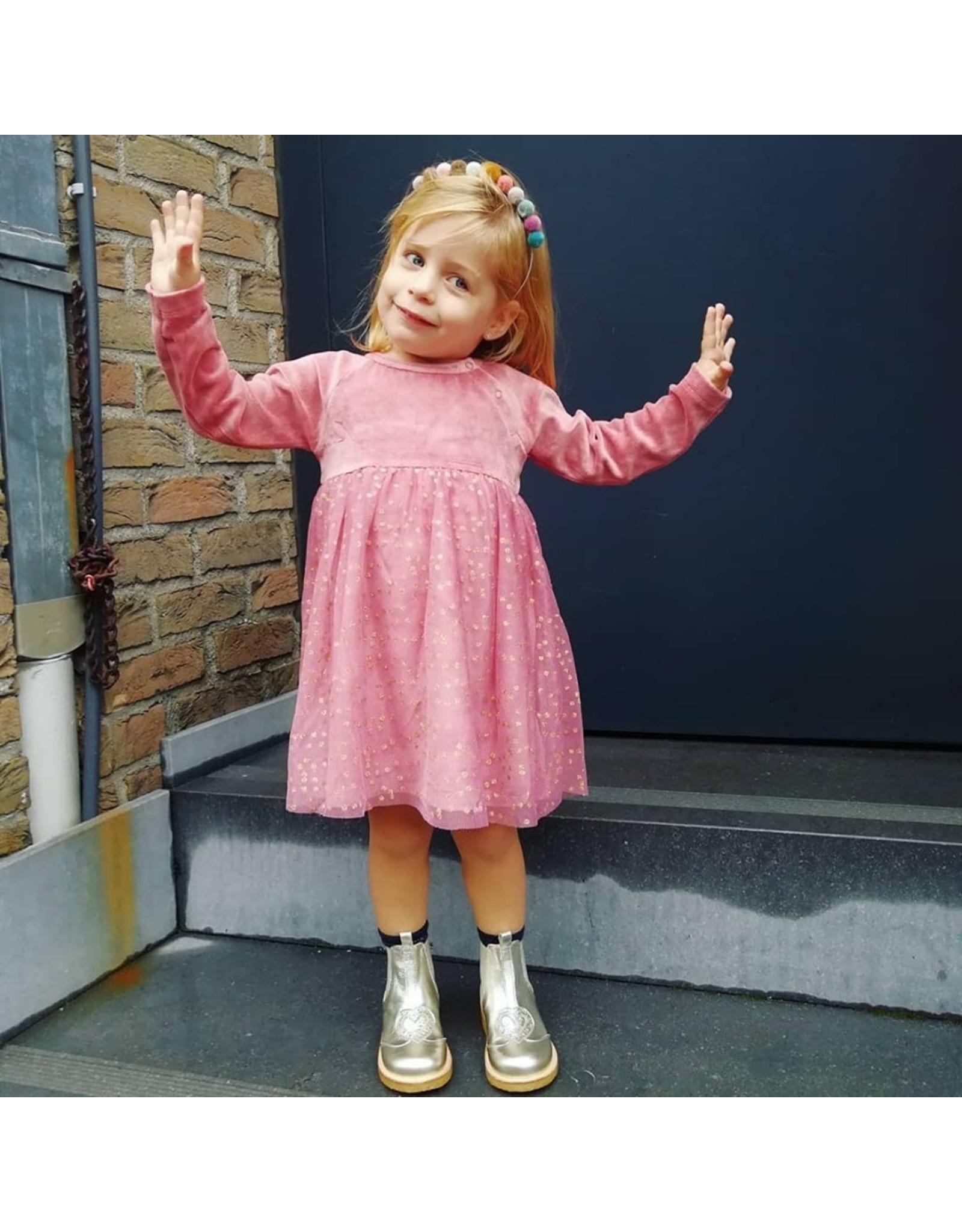 Petit by Sofie Schnoor kleedje roze fluweel/tule