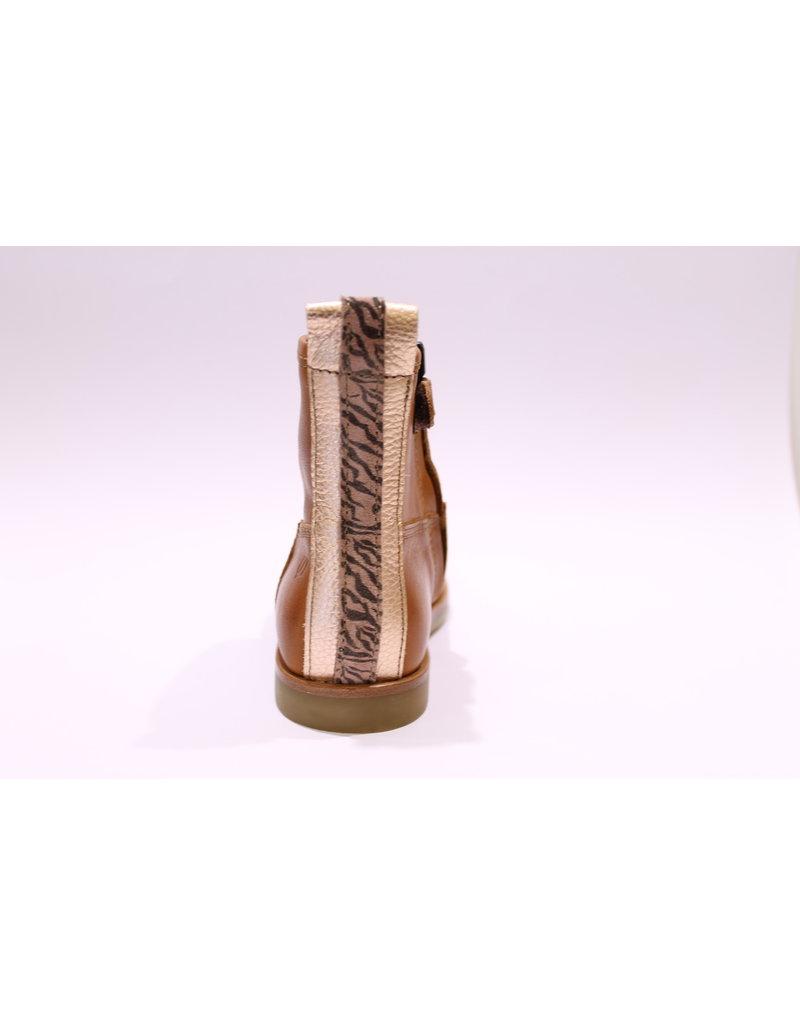 Ocra halfhoge laars cognac roze streep