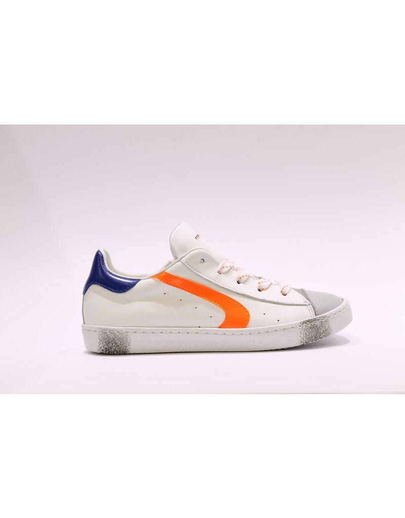 Rondinella sneaker laag wit/oranje