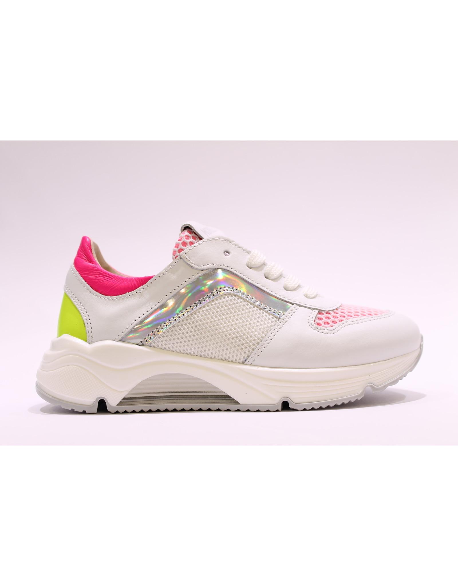 Andrea Morelli sneaker wit/zilver/fuchsia