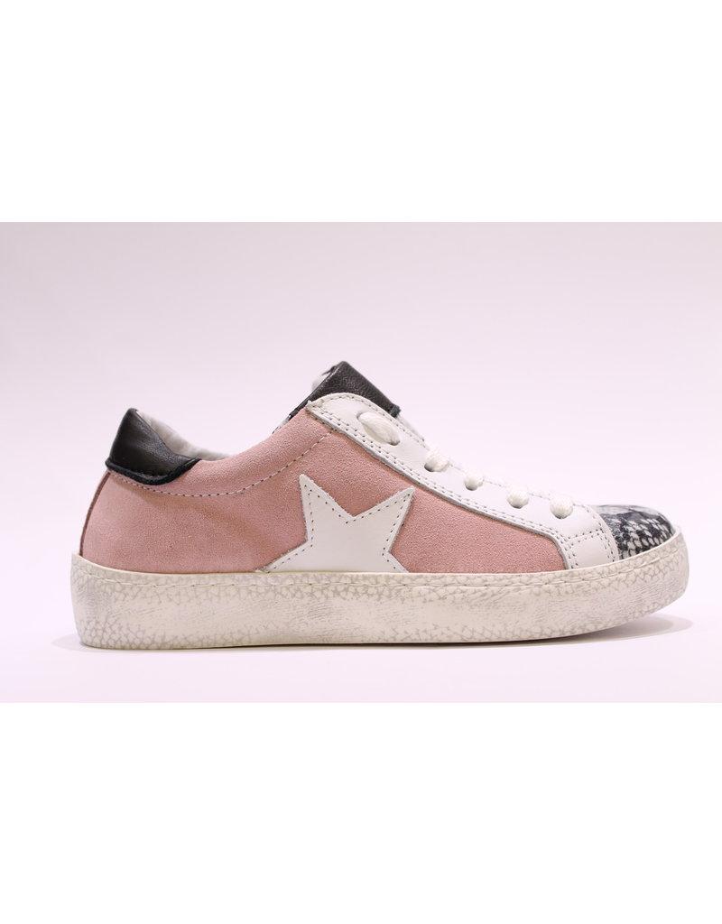 Freesby sneaker roze /wit/snake