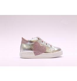 Rondinella sneaker zilver/roze hart