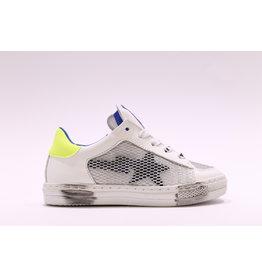 Rondinella sneaker laag wit/zwart/fluo