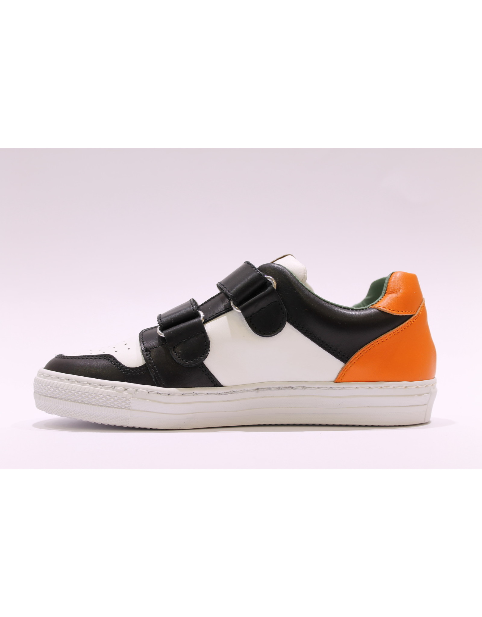 Rondinella sneaker laag zwart/wit/oranje velcro